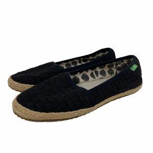 Sanuk Slip On Woven Canvas Espadrille Shoes Sz 6